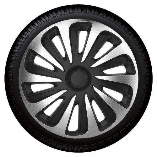 4er set radkappen radzierblenden caliber carbon silver black 15 zoll