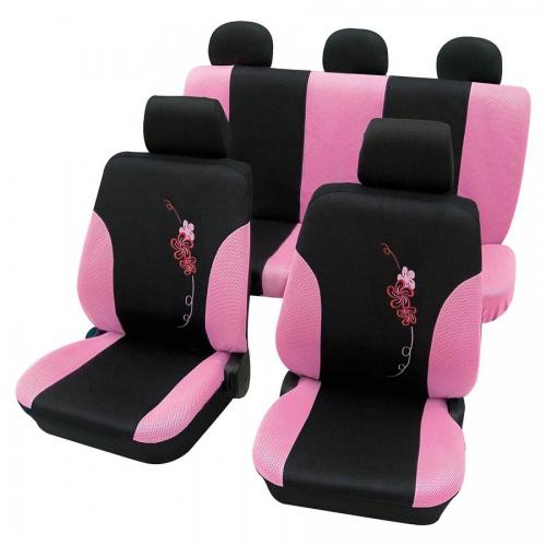 sitzbez ge schonbez ge flower pink rosa set 11 teilig sab. Black Bedroom Furniture Sets. Home Design Ideas